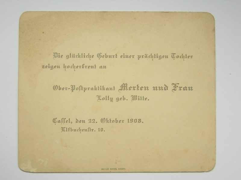 22.10.1908: Geburtsanzeige Anneliese Merten